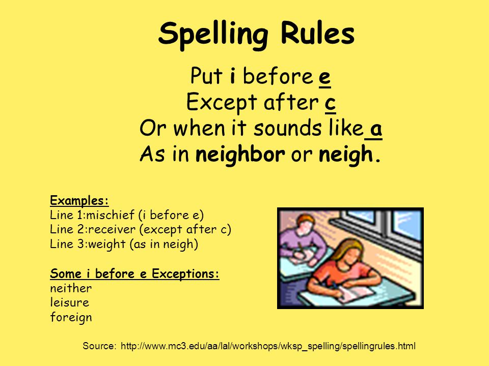 Spelling Rules Put i before e Except after c Or when it sounds like a