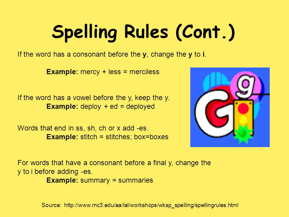 Spelling Rules (Cont.) If the word has a consonant before the y, change the y to i. Example: mercy + less = merciless.
