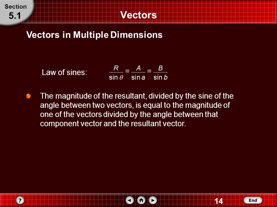 Vectors 5.1 Vectors in Multiple Dimensions Law of sines: