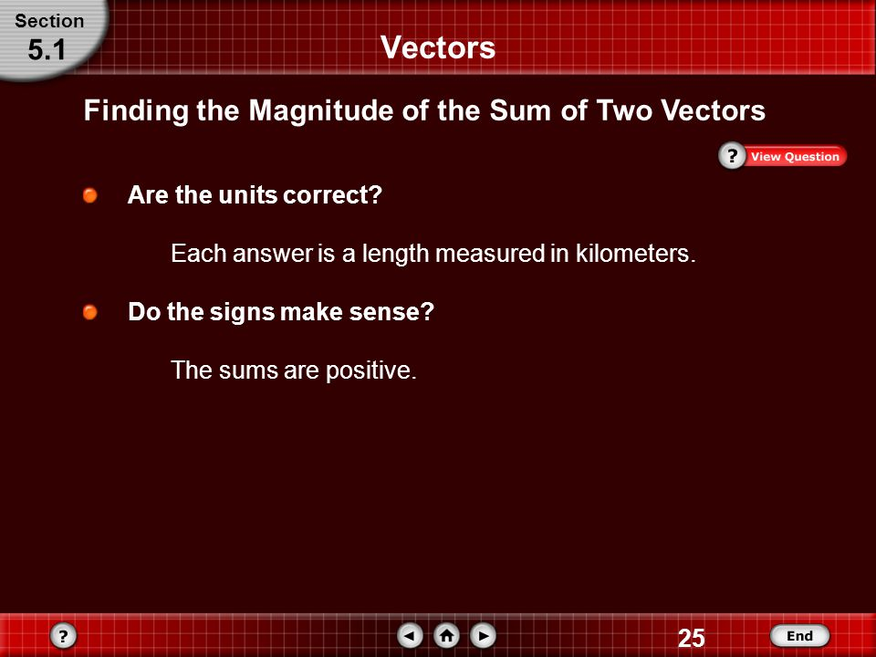 Vectors 5.1 Finding the Magnitude of the Sum of Two Vectors