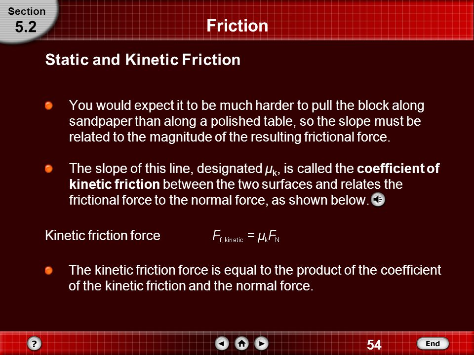 Friction 5.2 Static and Kinetic Friction
