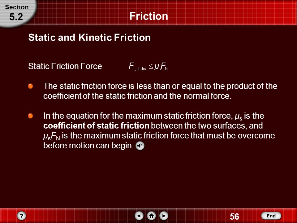 Friction 5.2 Static and Kinetic Friction Static Friction Force