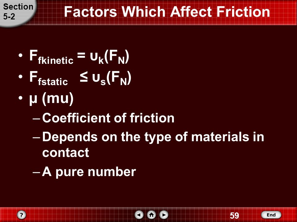 Factors Which Affect Friction