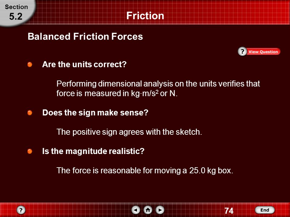 Friction 5.2 Balanced Friction Forces Are the units correct
