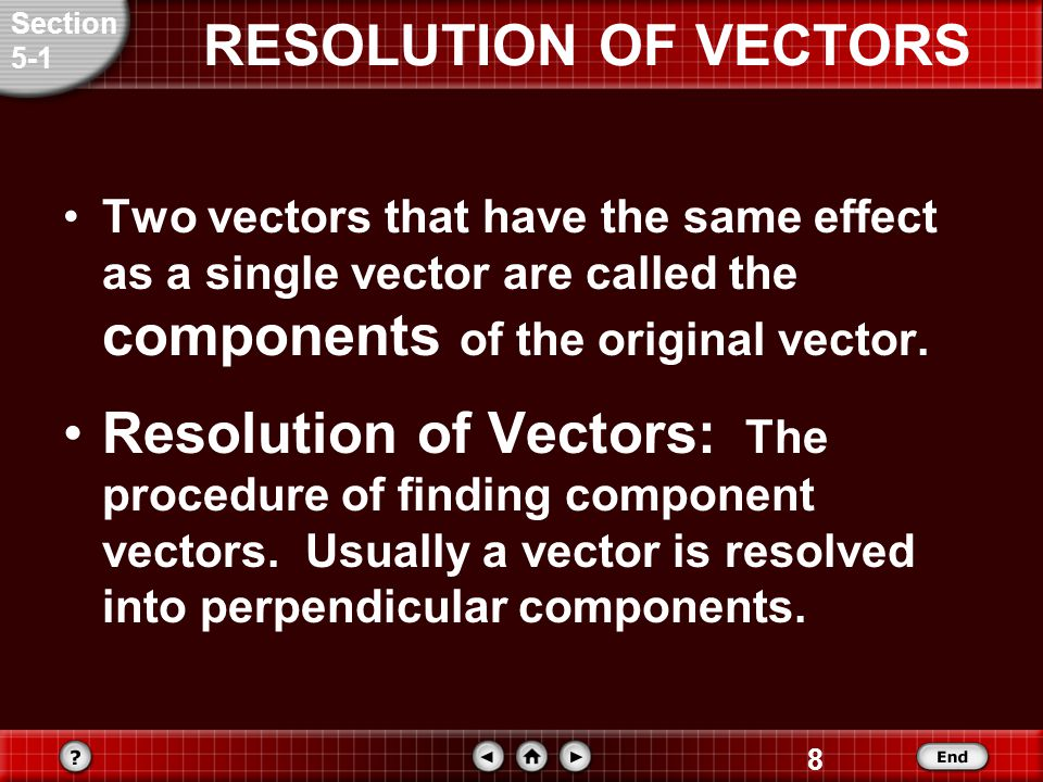 Section 5-1. RESOLUTION OF VECTORS. Two vectors that have the same effect as a single vector are called the components of the original vector.