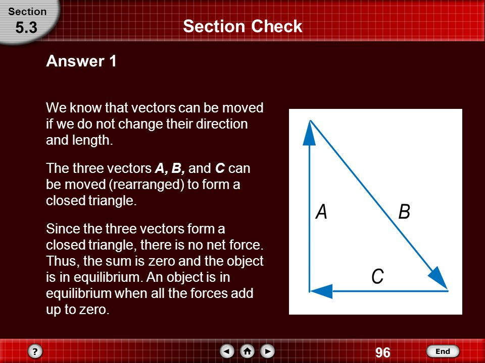 Section Section Check. 5.3. Answer 1. We know that vectors can be moved if we do not change their direction and length.