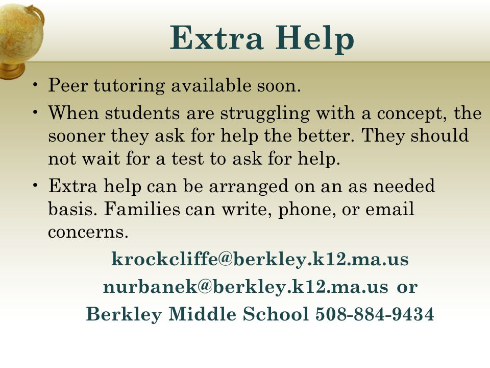nurbanek@berkley.k12.ma.us or Berkley Middle School 508-884-9434