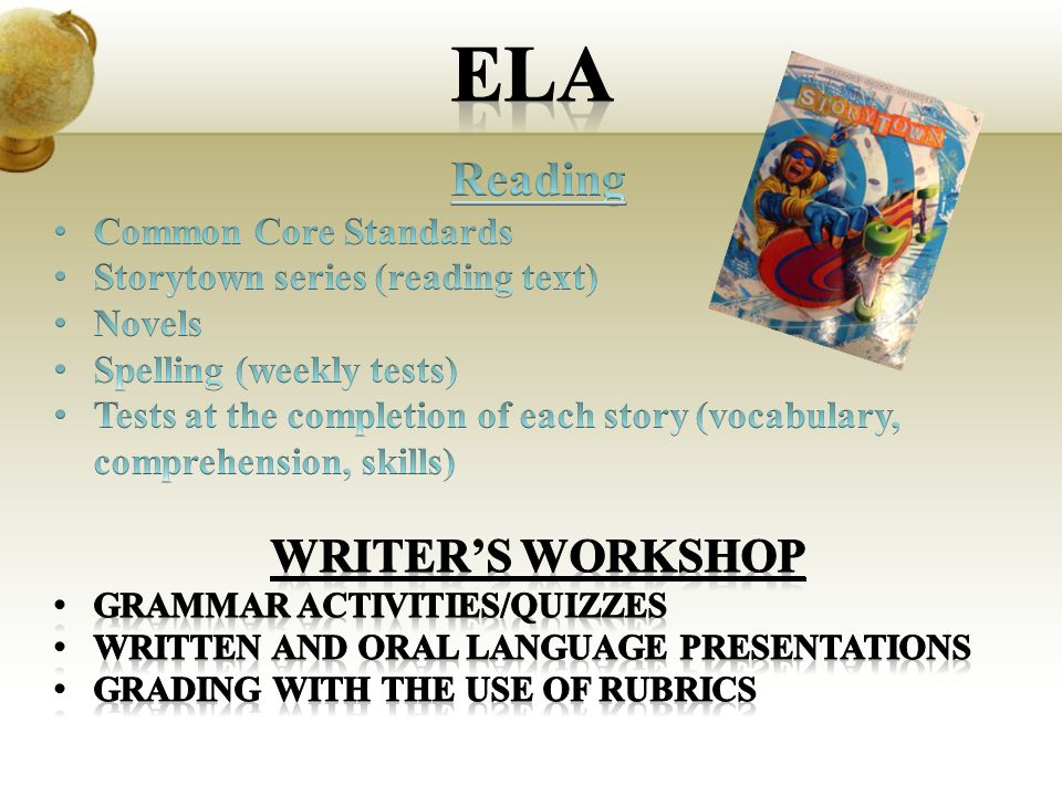 Ela Reading Writer's Workshop Common Core Standards