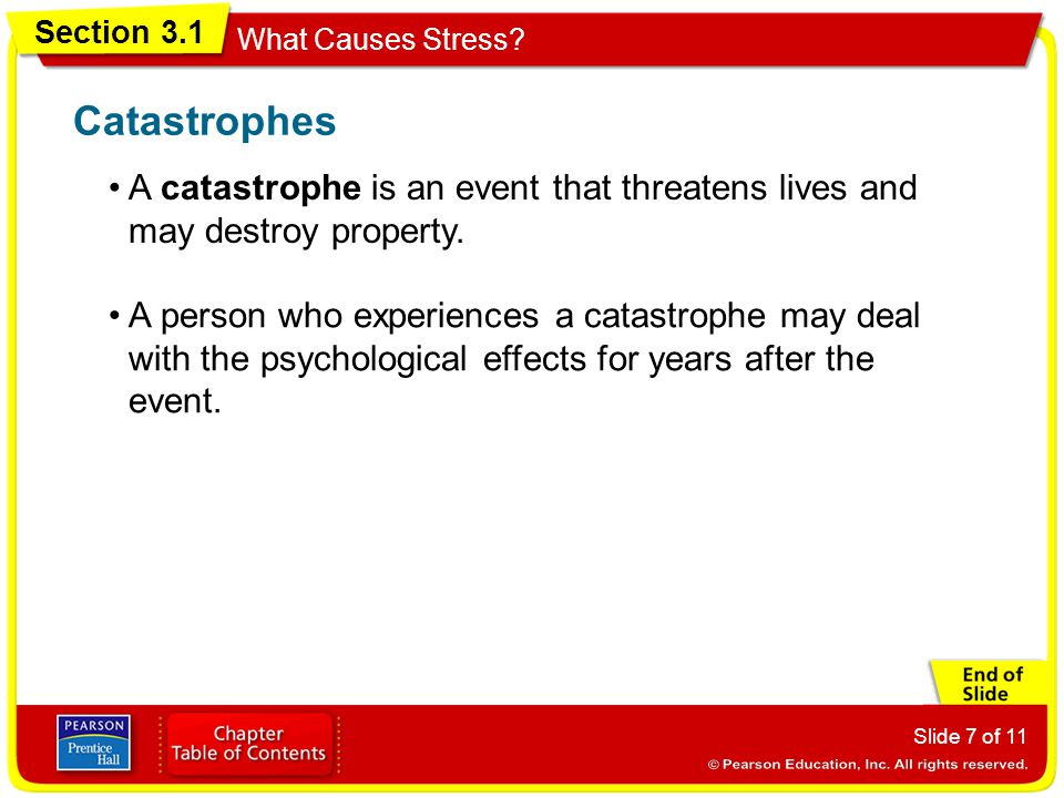 Catastrophes • A catastrophe is an event that threatens lives and