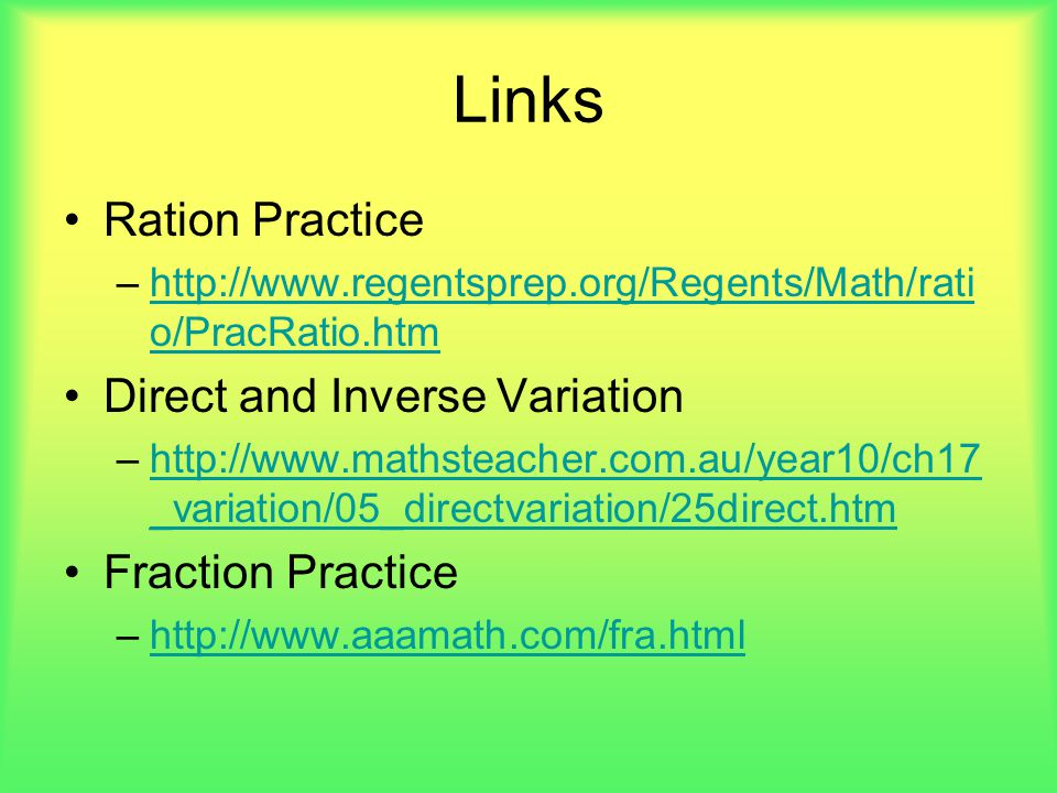 Links Ration Practice Direct and Inverse Variation Fraction Practice