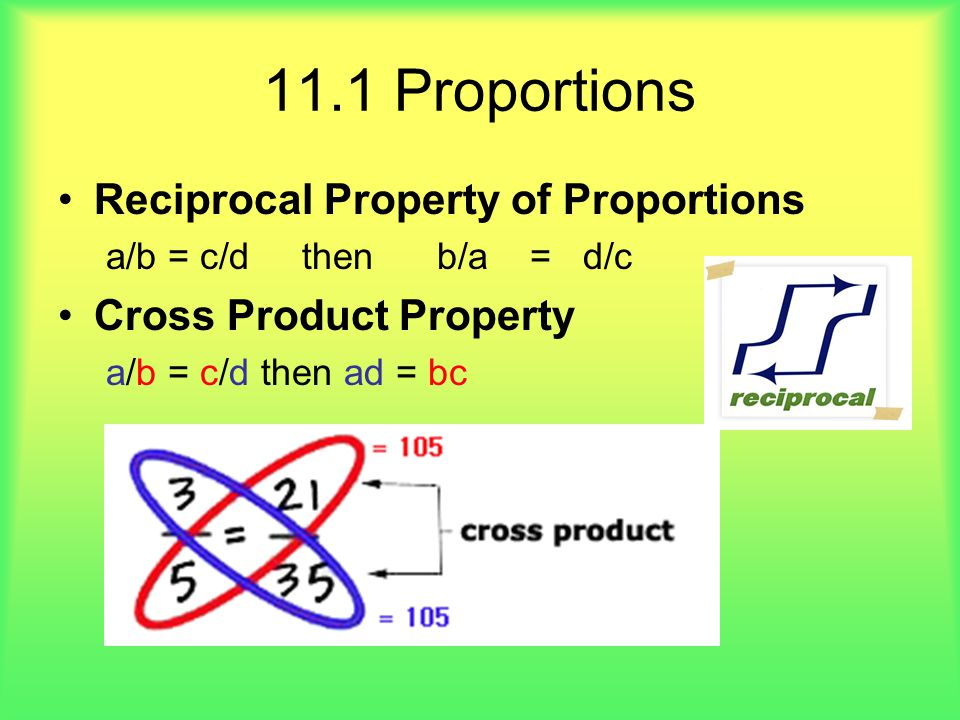 11.1 Proportions Reciprocal Property of Proportions
