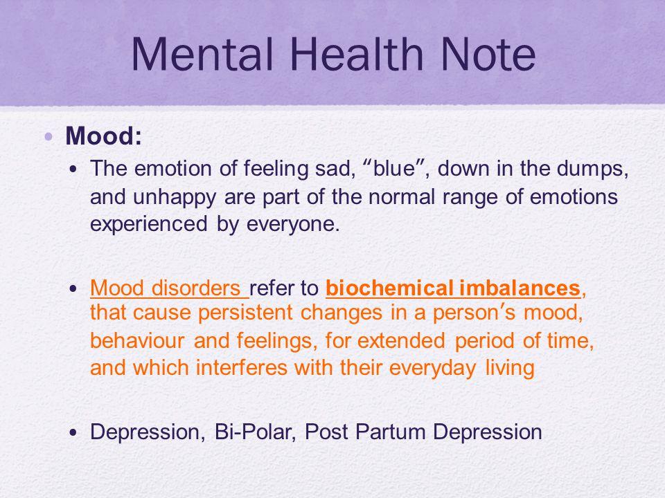 Mental Health Note Mood: