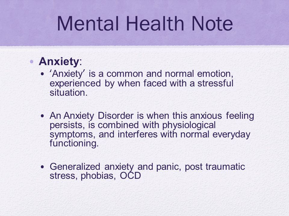 Mental Health Note Anxiety: