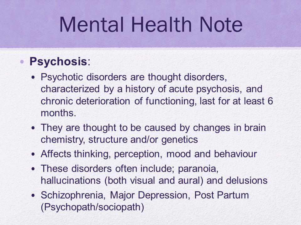 Mental Health Note Psychosis: