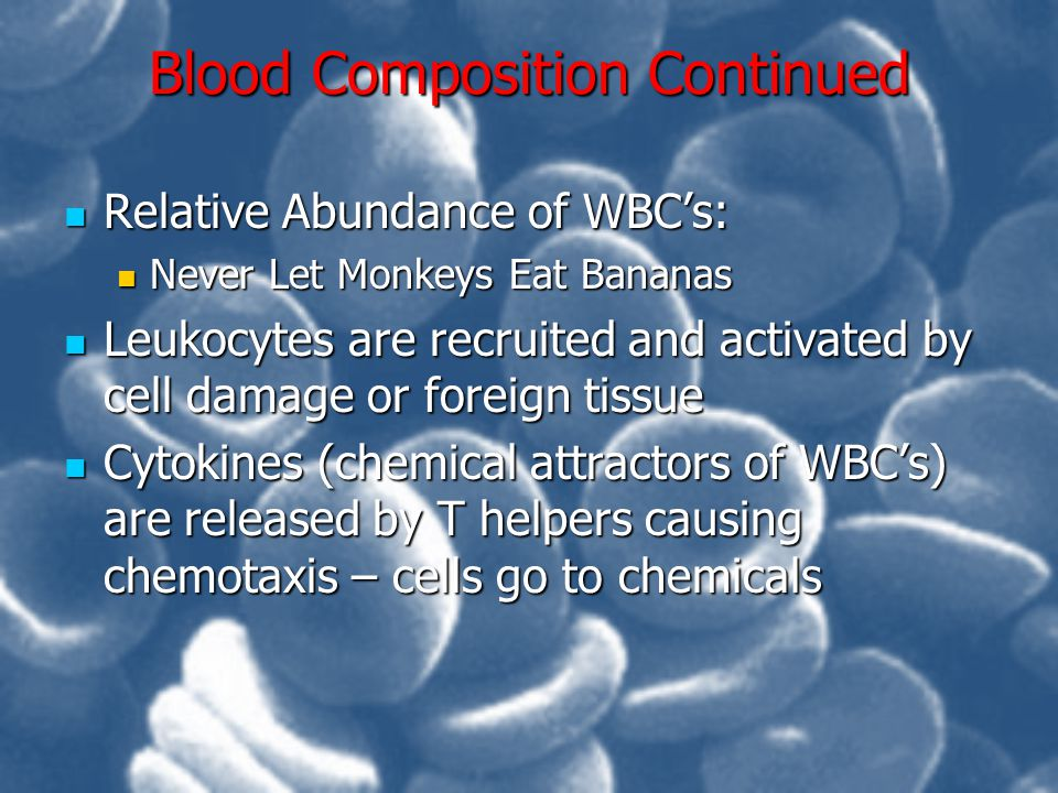Blood Composition Continued
