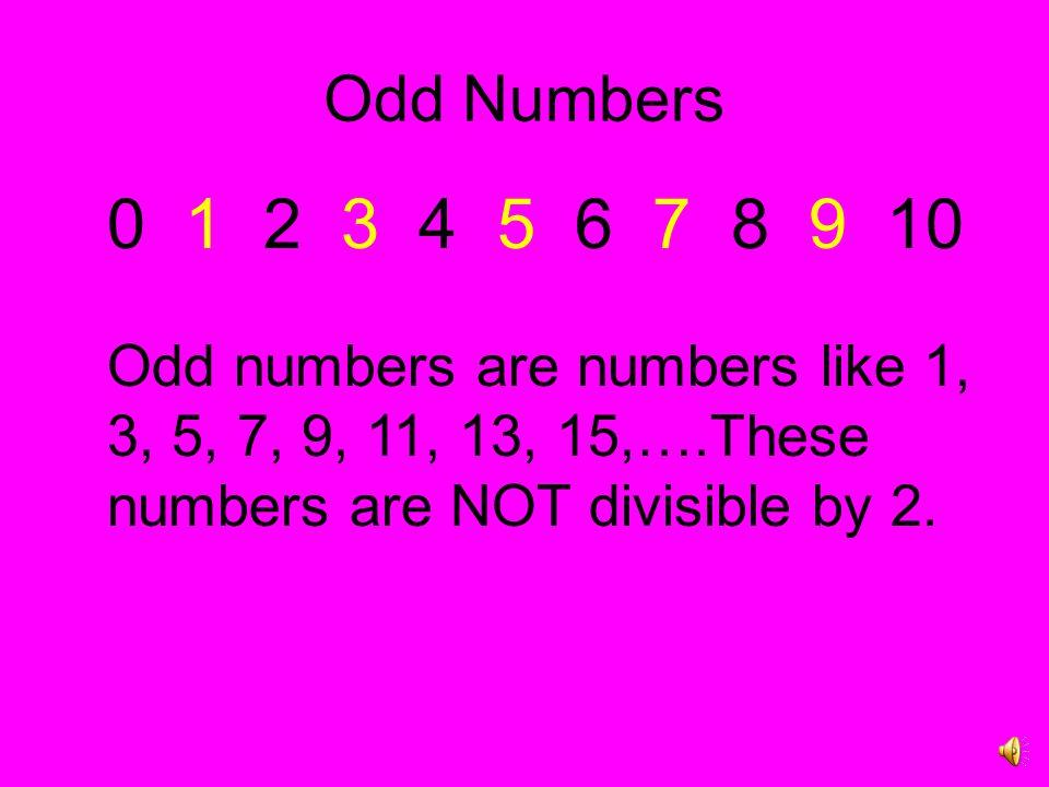 Odd Numbers 0 1 2 3 4 5 6 7 8 9 10.