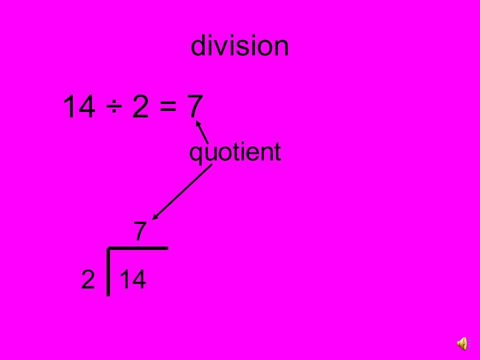 division 14 ÷ 2 = 7 quotient 7 2 14
