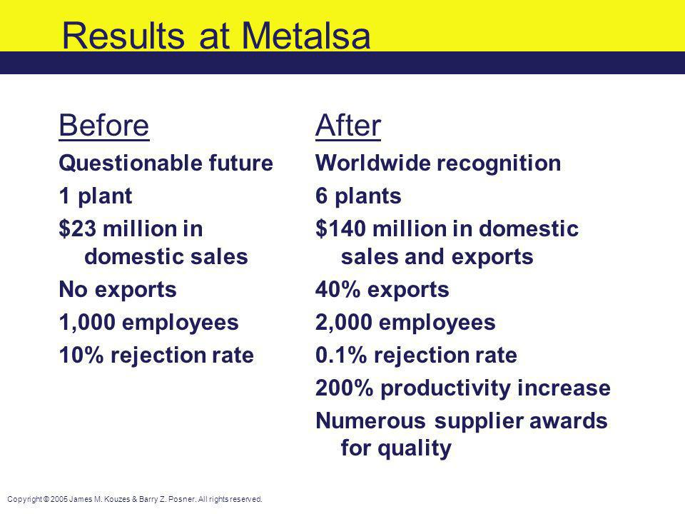 Results at Metalsa Before After Questionable future 1 plant