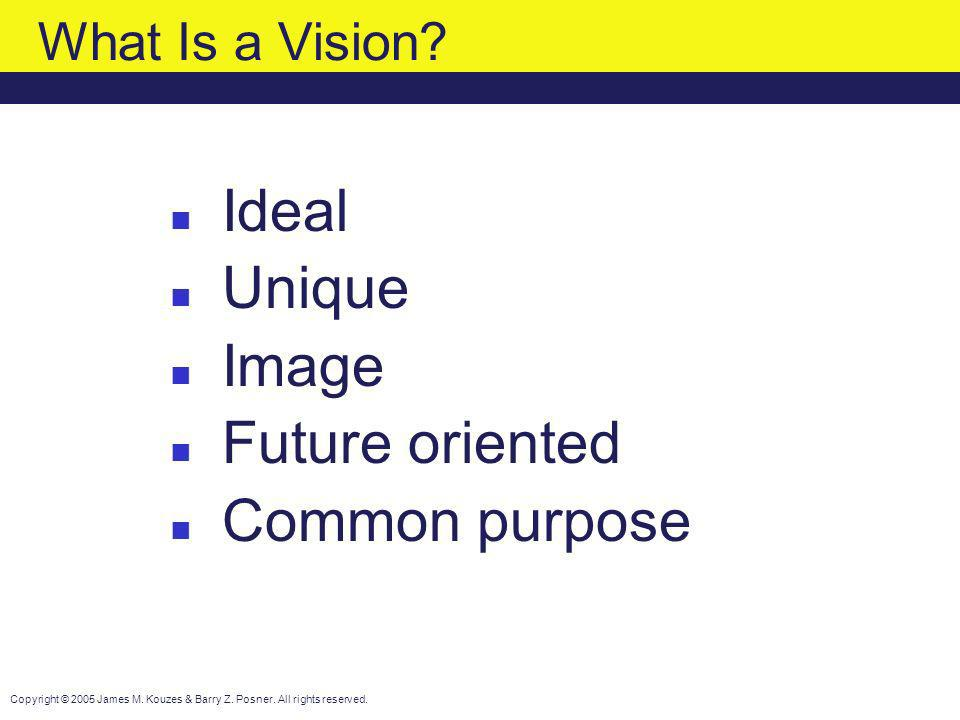What Is a Vision Ideal Unique Image Future oriented Common purpose