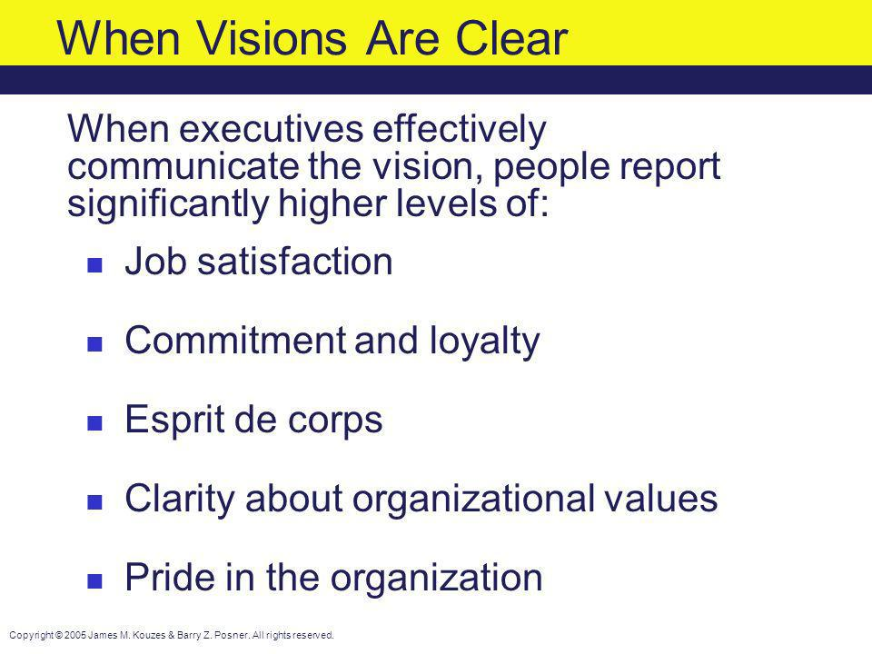 When Visions Are Clear When executives effectively communicate the vision, people report significantly higher levels of: