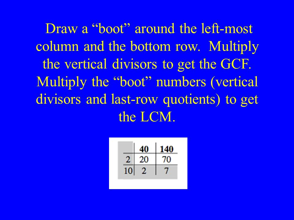 Draw a boot around the left-most column and the bottom row