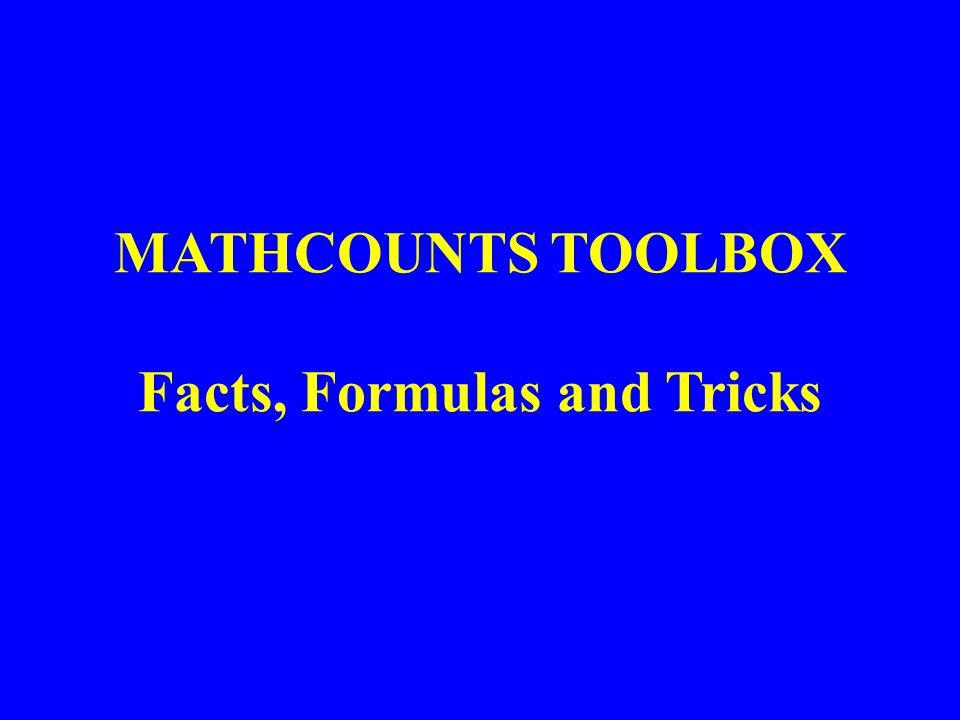 MATHCOUNTS TOOLBOX Facts, Formulas and Tricks