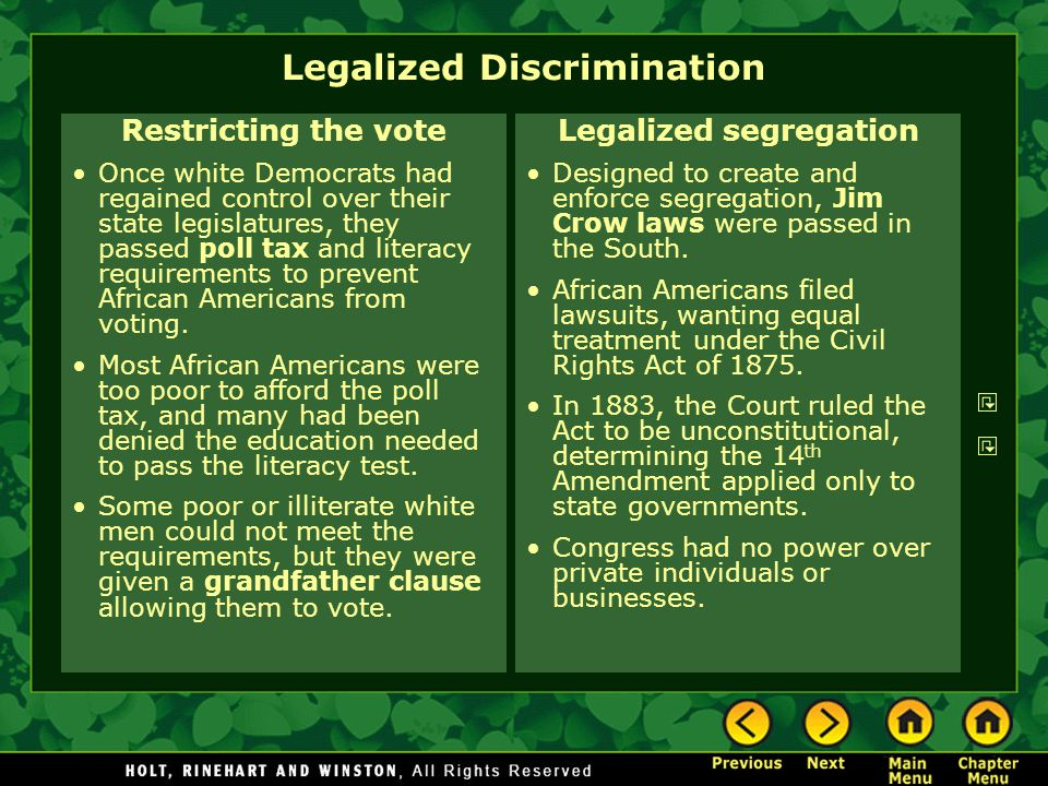 Legalized Discrimination