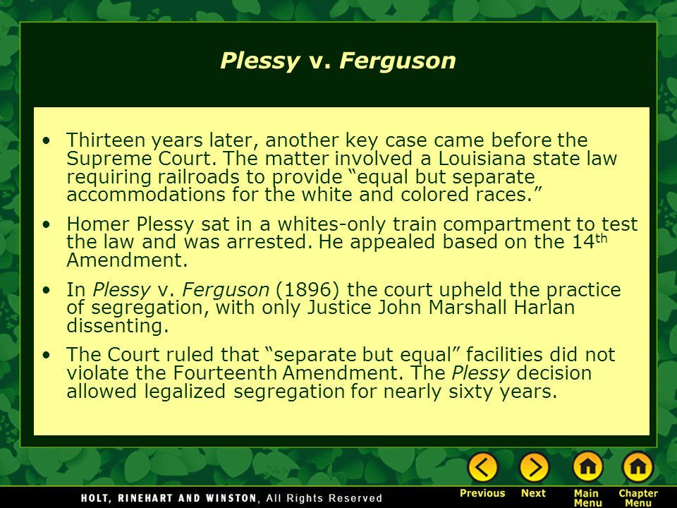 an analysis of separate but equal in the case of plessy vs ferguson Case opinion for us supreme court plessy v ferguson shall provide equal but separate so as to secure separate accommodations the case was presented.