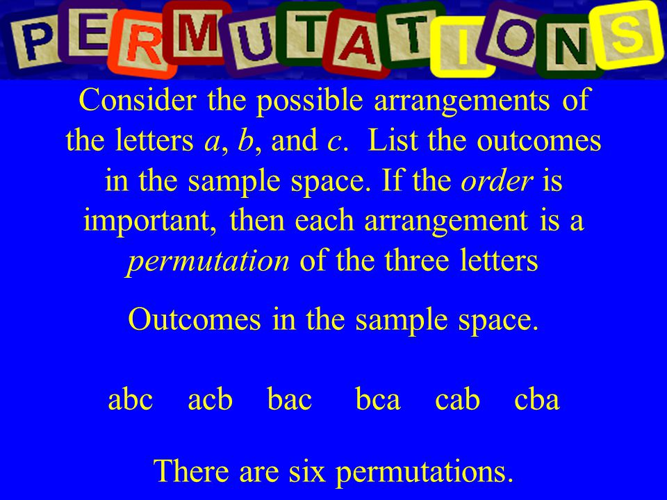 Outcomes in the sample space. abc acb bac bca cab cba