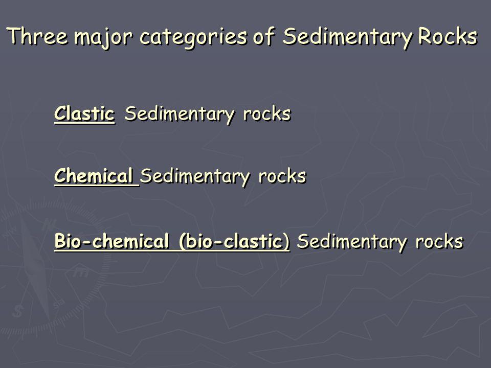 Three major categories of Sedimentary Rocks
