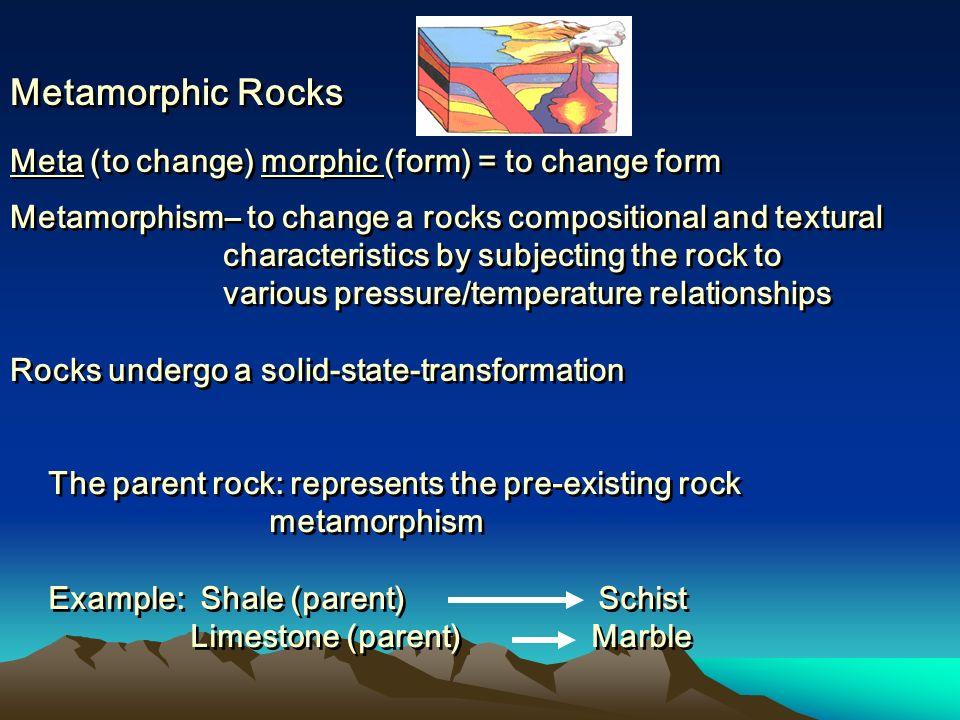 Metamorphic Rocks Meta (to change) morphic (form) = to change form