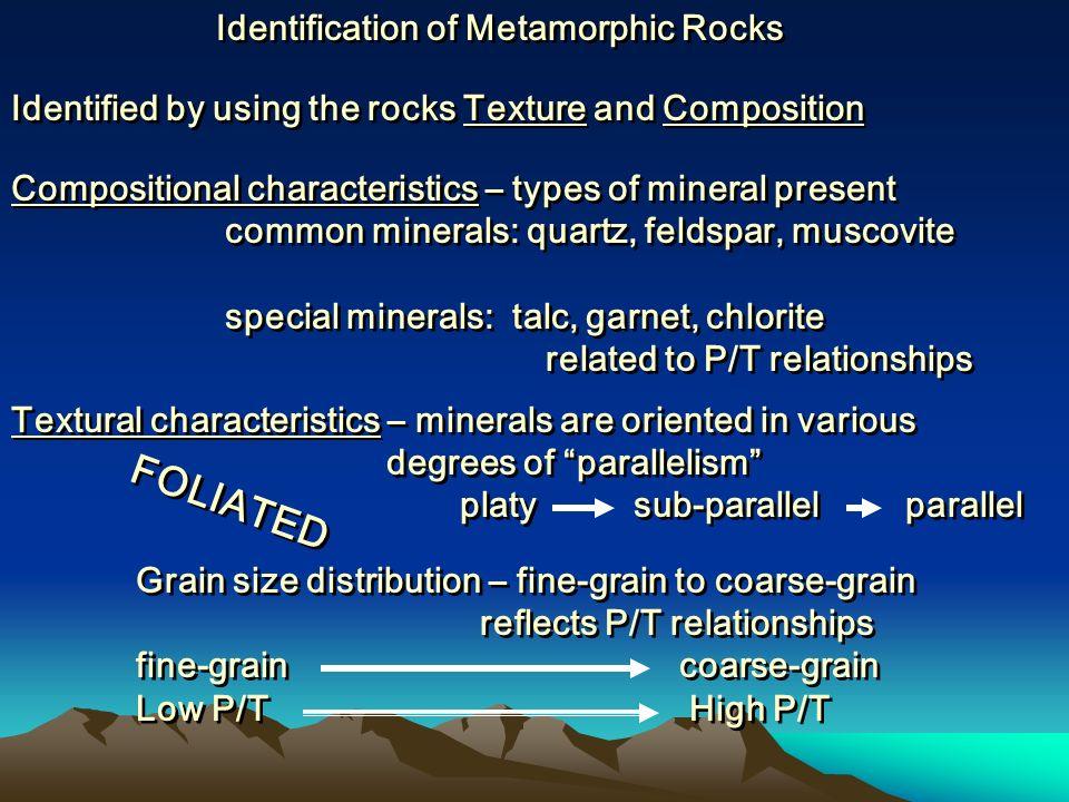 FOLIATED Identification of Metamorphic Rocks