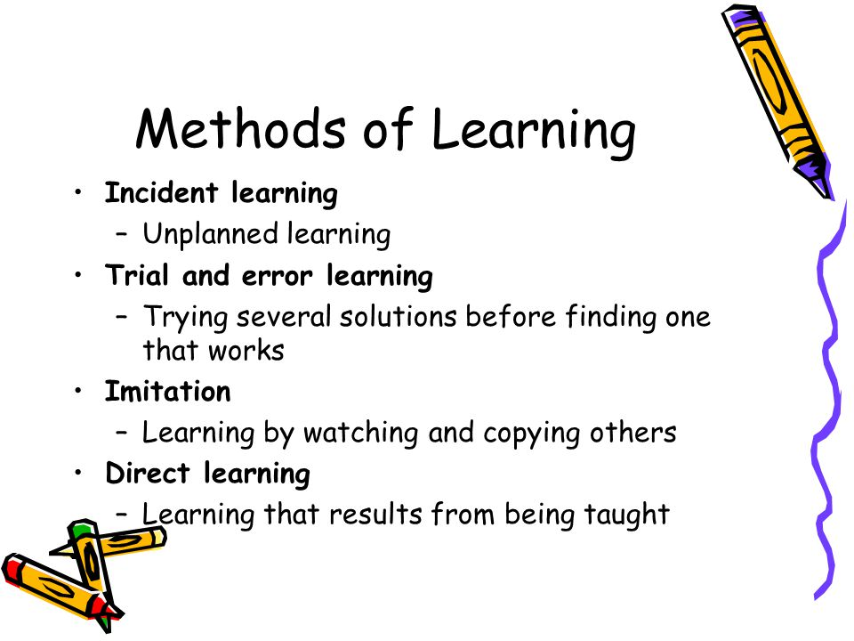 Methods of Learning Incident learning Unplanned learning