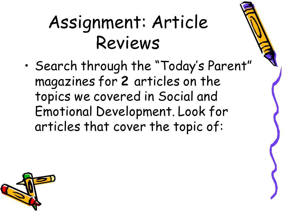 Assignment: Article Reviews