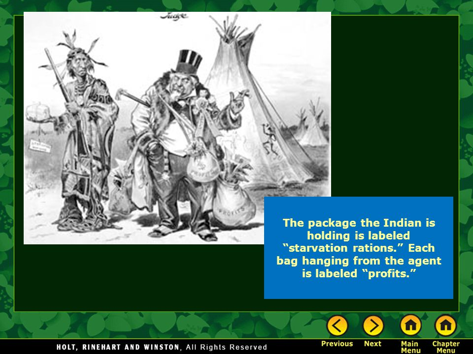 The package the Indian is holding is labeled starvation rations