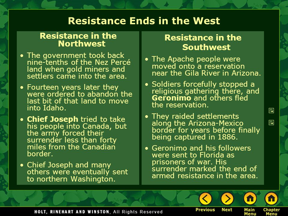 Resistance Ends in the West