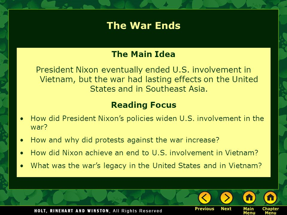 The War Ends The Main Idea
