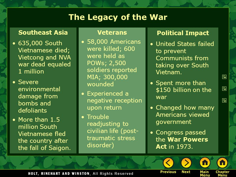 The Legacy of the War Southeast Asia