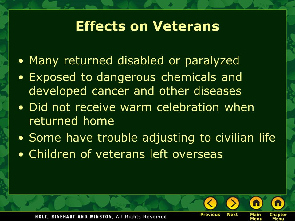 Effects on Veterans Many returned disabled or paralyzed