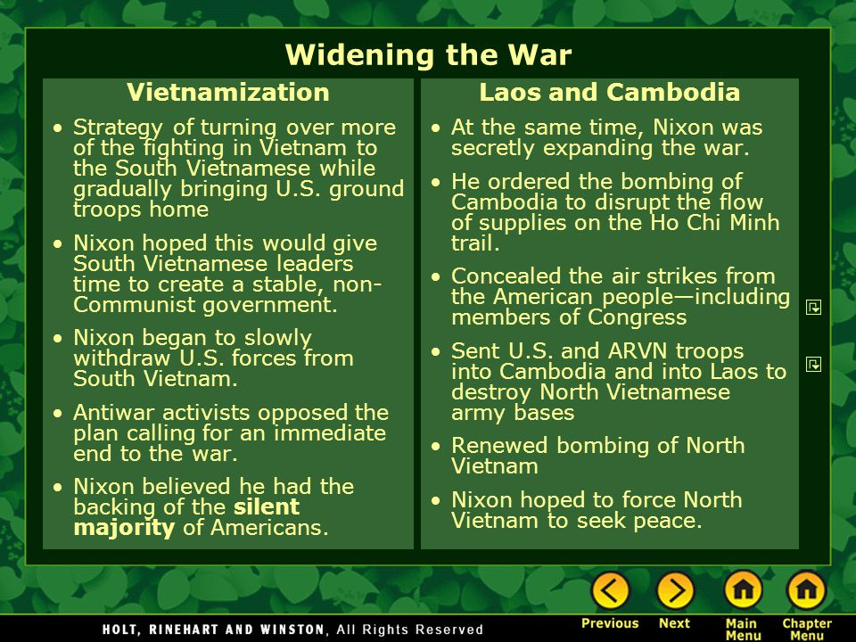 Widening the War Vietnamization Laos and Cambodia