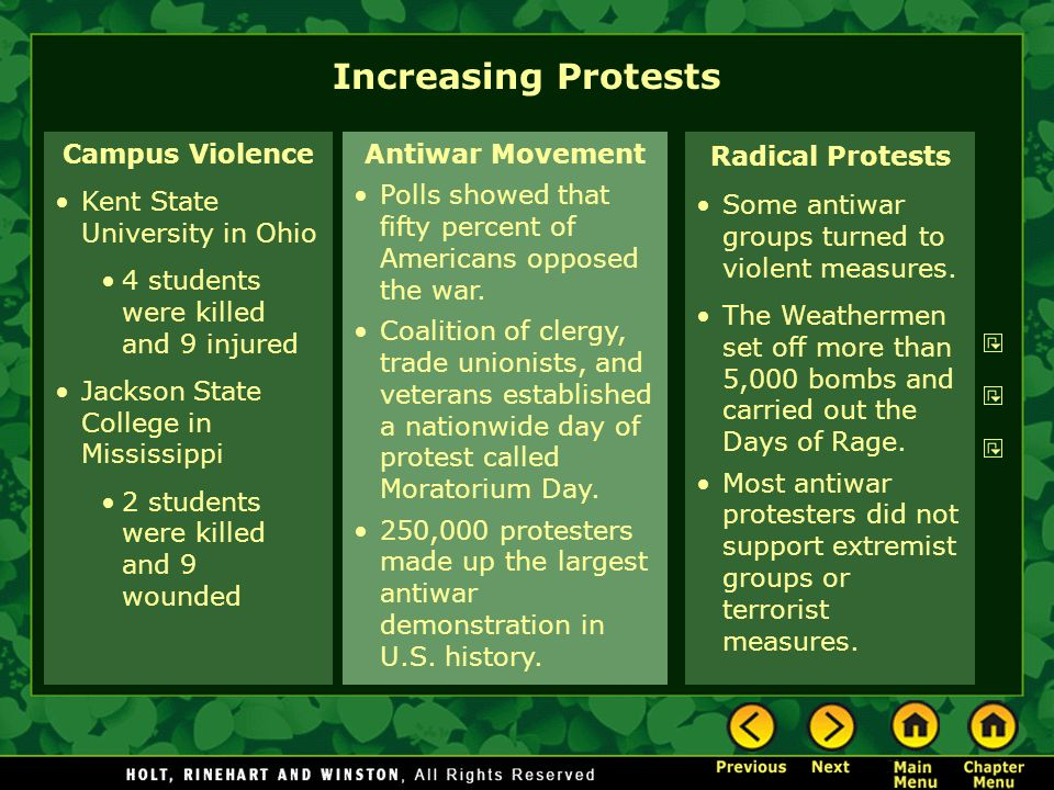 Increasing Protests Campus Violence Kent State University in Ohio