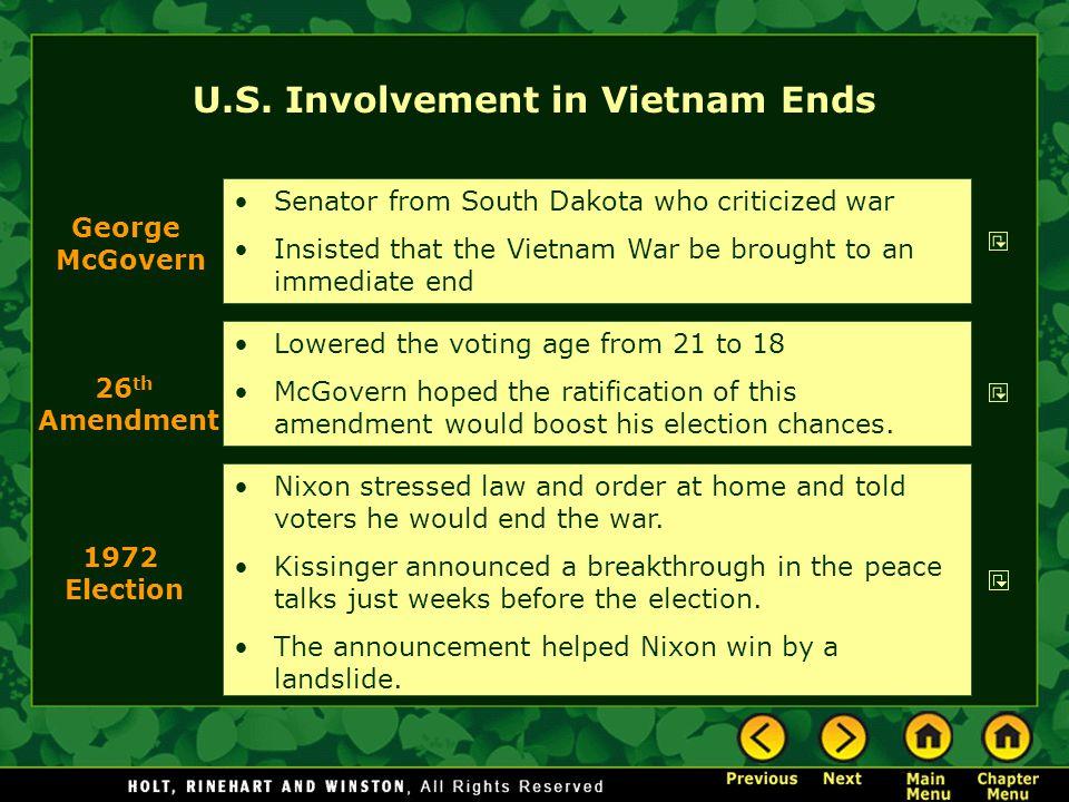 U.S. Involvement in Vietnam Ends