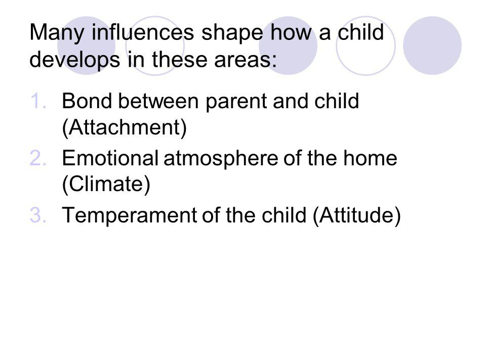 Many influences shape how a child develops in these areas: