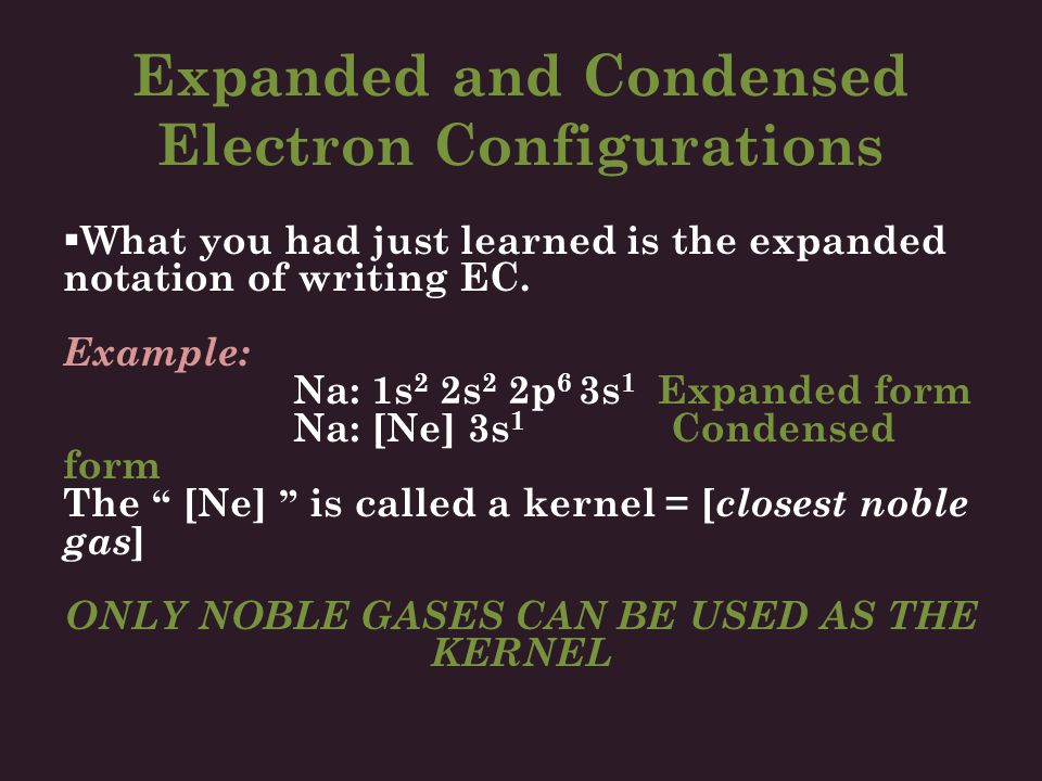 Expanded and Condensed Electron Configurations