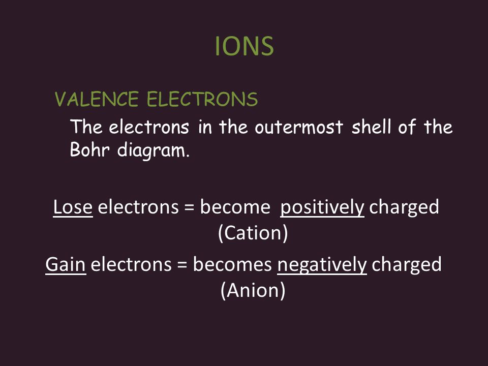 IONS Lose electrons = become positively charged (Cation)