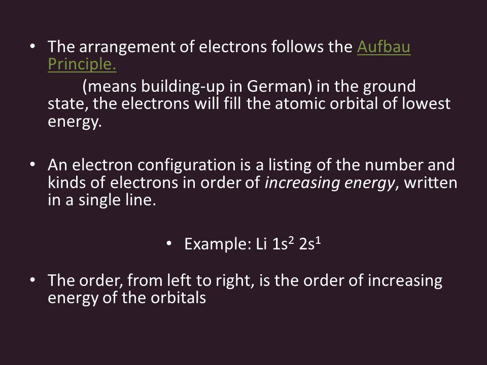 The arrangement of electrons follows the Aufbau Principle.