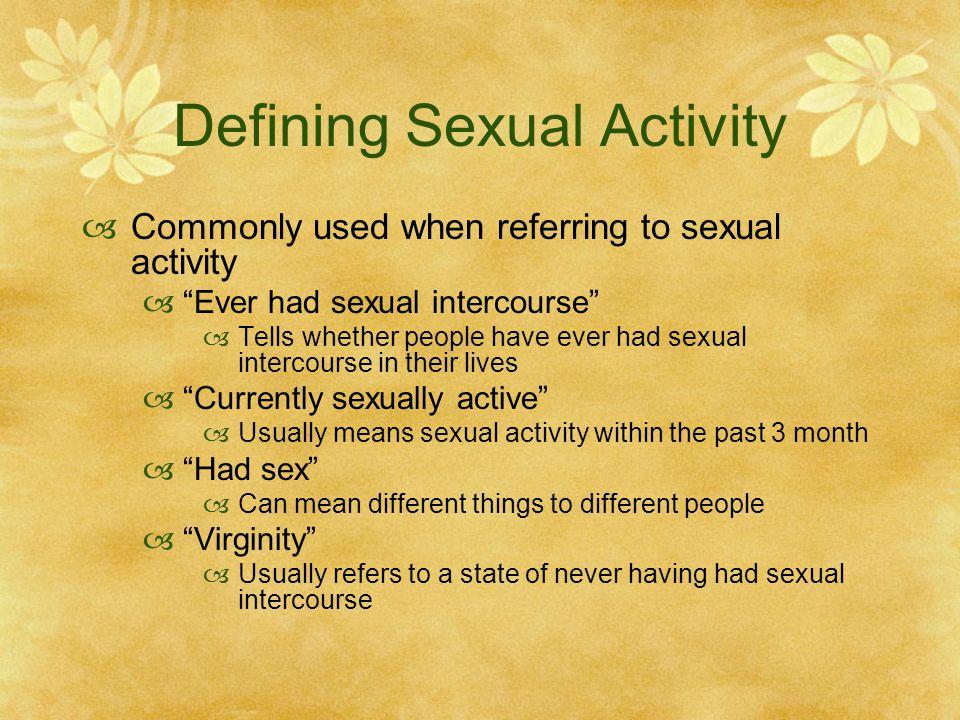 Defining Sexual Activity