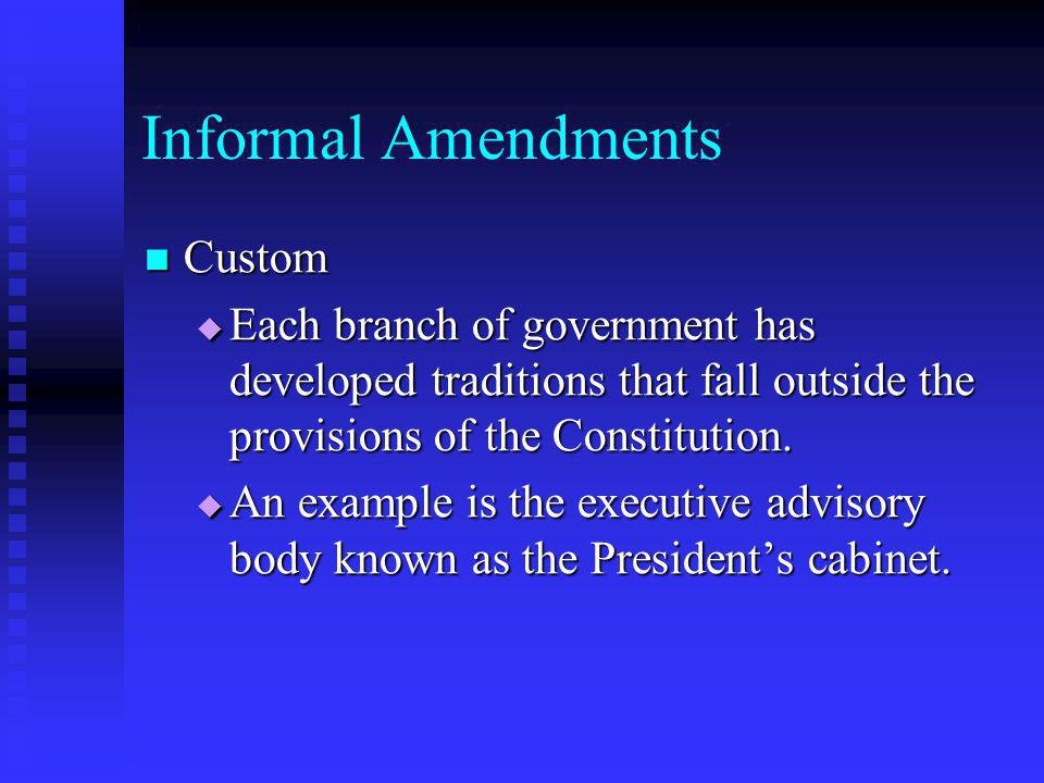 Informal Amendments Custom