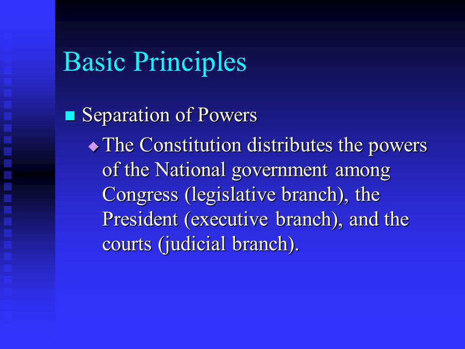 Basic Principles Separation of Powers