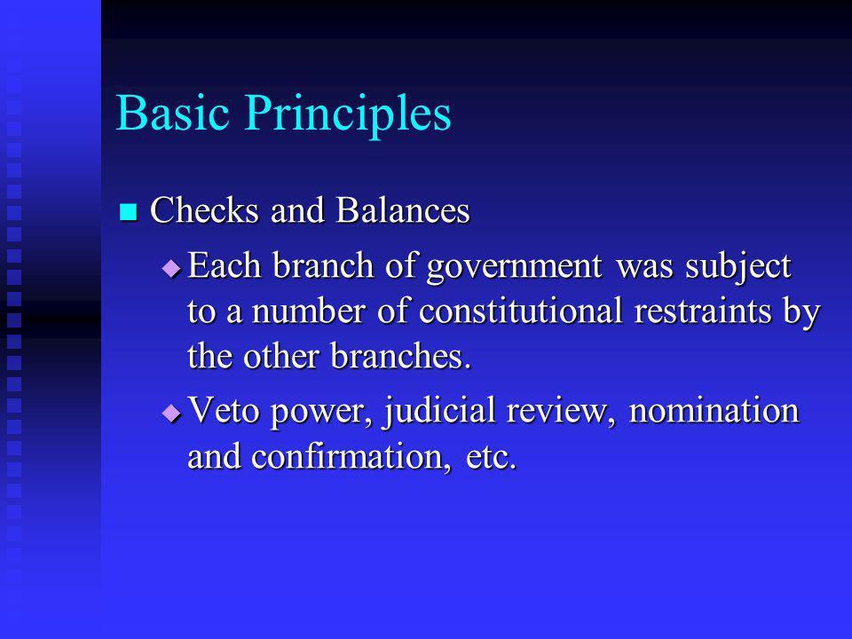 Basic Principles Checks and Balances